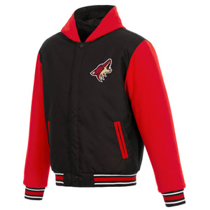 Arizona Coyotes Two-Tone Reversible Fleece Hooded Jacket - Black/Red - JH Design