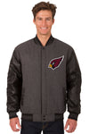 Arizona Cardinals Wool & Leather Reversible Jacket w/ Embroidered Logos - Charcoal/Black