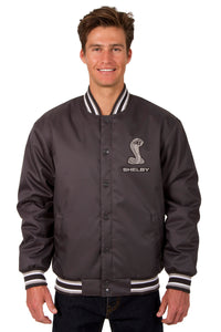Shelby Poly Twill Varsity Jacket - Charcoal - JH Design
