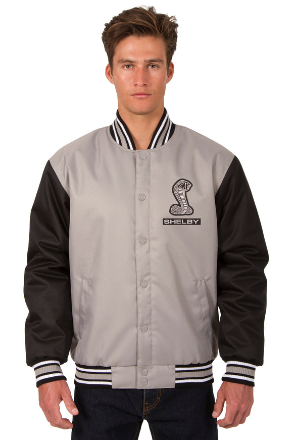 Shelby Poly Twill Varsity Jacket - Gray/Black - JH Design