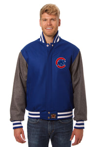 Chicago Cubs Embroidered Wool Jacket - Royal/Charcoal