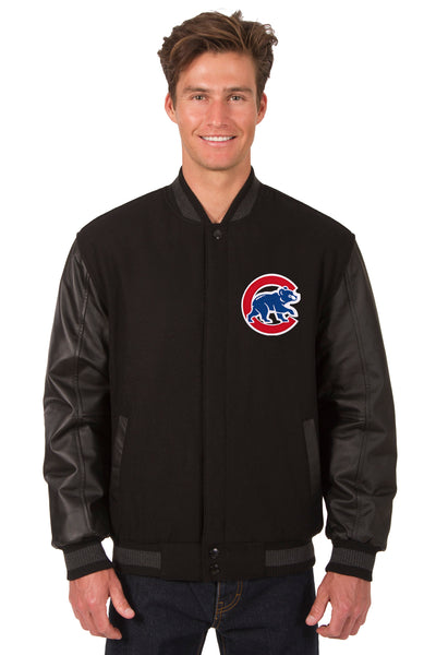 Chicago Cubs Wool & Leather Reversible Jacket w/ Embroidered Logos - Black