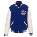 Chicago Cubs - JH Design Reversible Fleece Jacket with Faux Leather Sleeves - Royal/White - JH Design