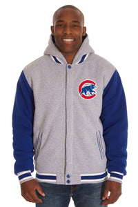Chicago Cubs Two-Tone Reversible Fleece Hooded Jacket - Gray/Royal