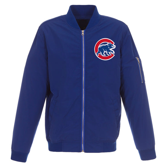 Chicago Cubs JH Design Lightweight Nylon Bomber Jacket – Royal