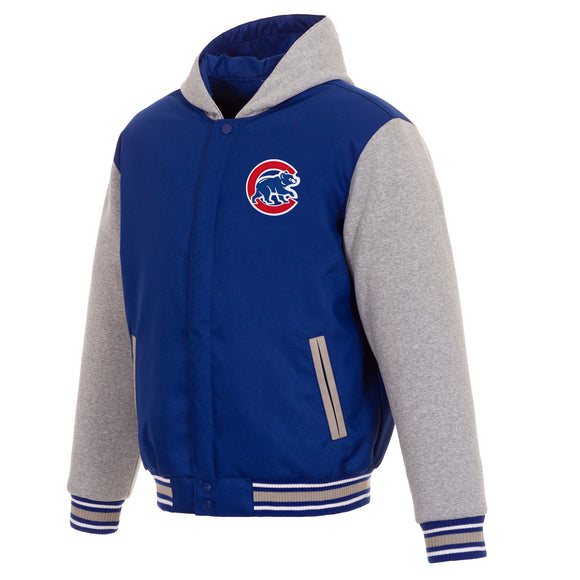 Chicago Cubs Two-Tone Reversible Fleece Hooded Jacket - Royal/Grey - JH Design