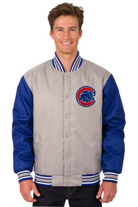 Chicago Cubs Poly Twill Varsity Jacket - Gray/Royal - JH Design
