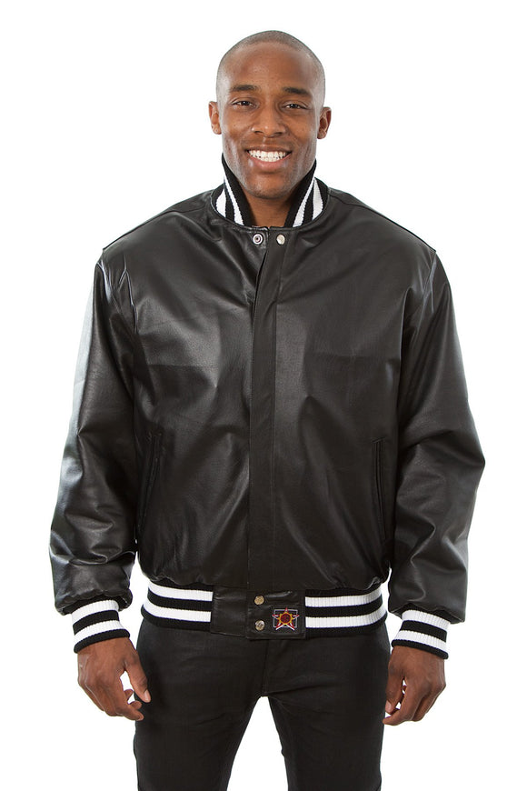 JH Design - All-Leather Varsity Jacket - Black/White - JH Design