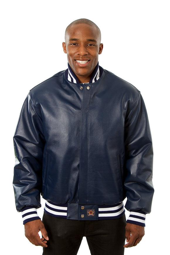 JH Design - All-Leather Varsity Jacket - Navy - JH Design