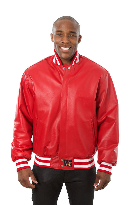 JH Design - All-Leather Varsity Jacket - Red - JH Design