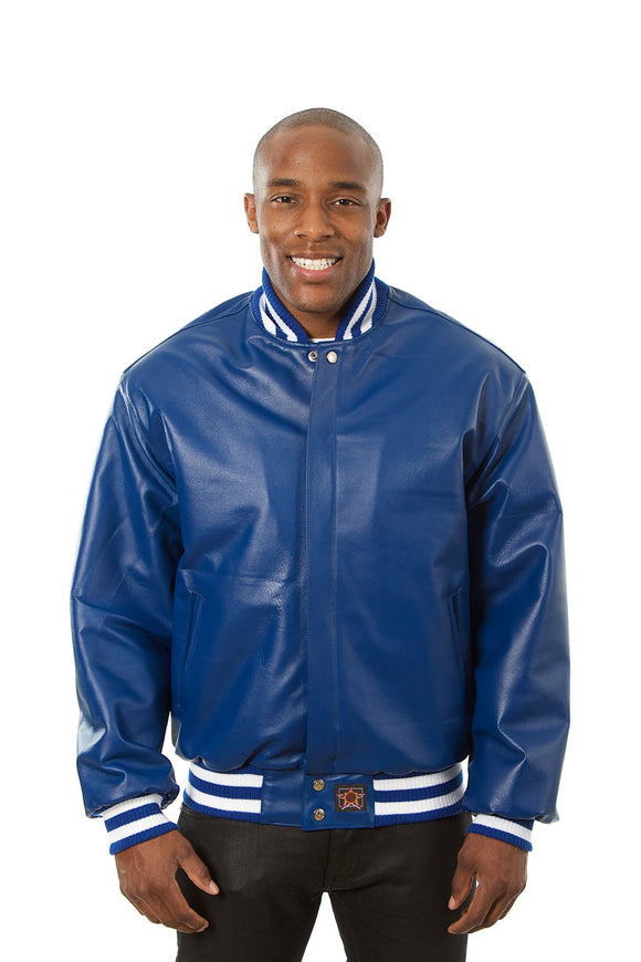 JH Design - All-Leather Varsity Jacket - Royal - JH Design