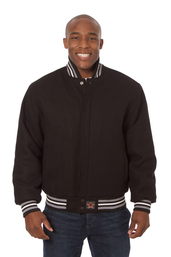 JH Design - All-Wool Varsity Jacket - Black - JH Design