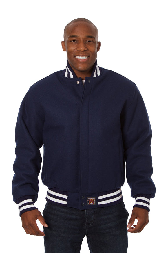 JH Design - All-Wool Varsity Jacket - Navy - JH Design