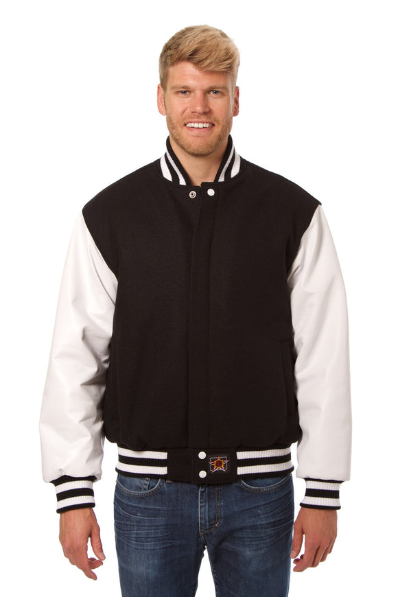 JH Design - Wool and Leather Varsity Jacket - Black/White - JH Design
