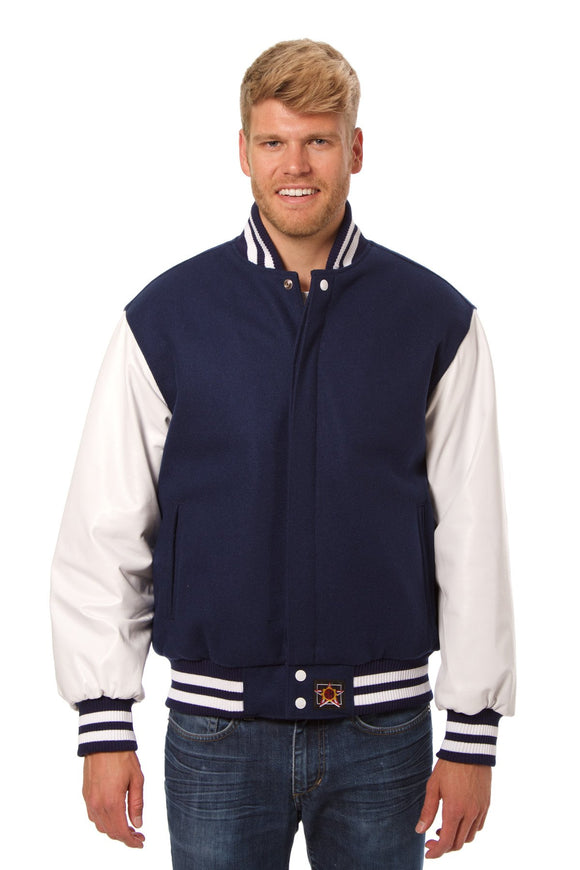 JH Design - Wool and Leather Varsity Jacket - Navy/White - JH Design