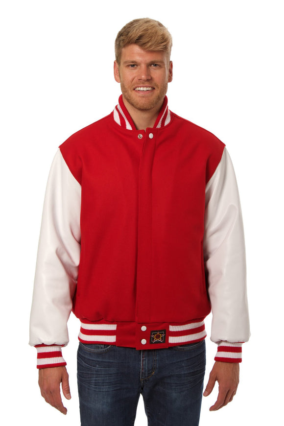 JH Design - Wool and Leather Varsity Jacket - Red/White - JH Design