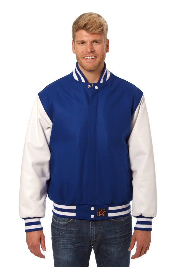 JH Design - Wool and Leather Varsity Jacket - Royal/White - JH Design