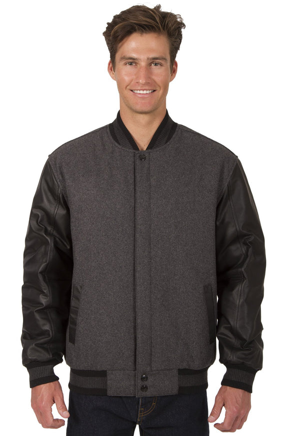 JH Design - Wool and Leather Varsity Jacket - Reversible - Charcoal/Black - JH Design