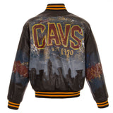 Cleveland Cavaliers JH Design Hand-Painted Leather Jacket - Black - JH Design