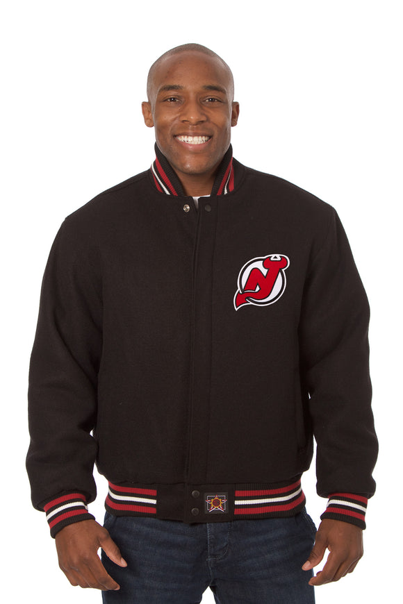New Jersey Devils Embroidered All Wool Jacket - Black - JH Design