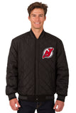 New Jersey Devils Wool & Leather Reversible Jacket w/ Embroidered Logos - Black - JH Design