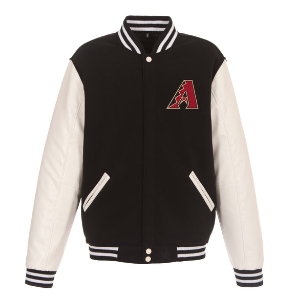 Arizona Diamondbacks - JH Design Reversible Fleece Jacket with Faux Leather Sleeves - Black/White - JH Design