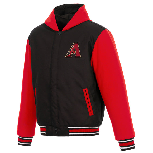 Arizona Diamondbacks Two-Tone Reversible Fleece Hooded Jacket - Black/Red - JH Design