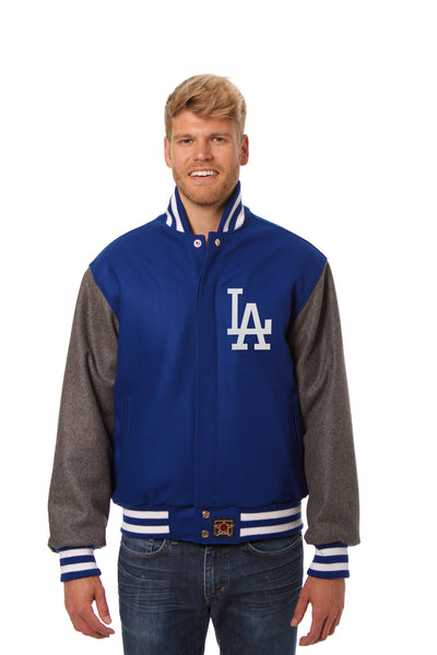 Los Angeles Dodgers Two-Tone Wool Jacket w/ Handcrafted Leather Logos - Royal/Gray