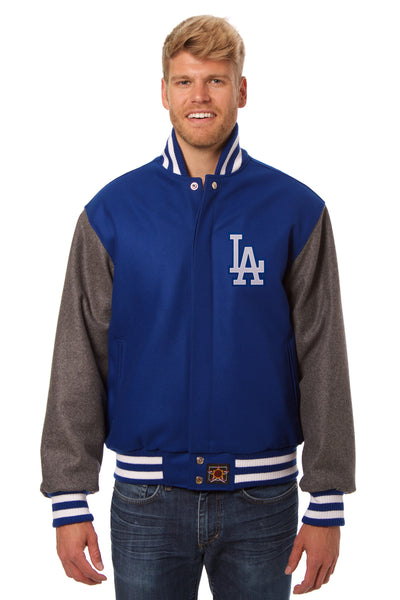 Los Angeles Dodgers Embroidered Wool Jacket - Royal/Charcoal