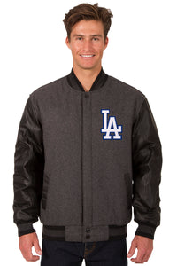 Los Angeles Dodgers Wool & Leather Reversible Jacket w/ Embroidered Logos - Charcoal/Black - JH Design