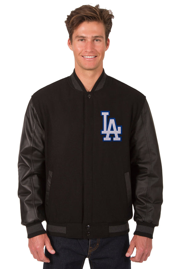 Los Angeles Dodgers Wool & Leather Reversible Jacket w/ Embroidered Logos - Black - JH Design