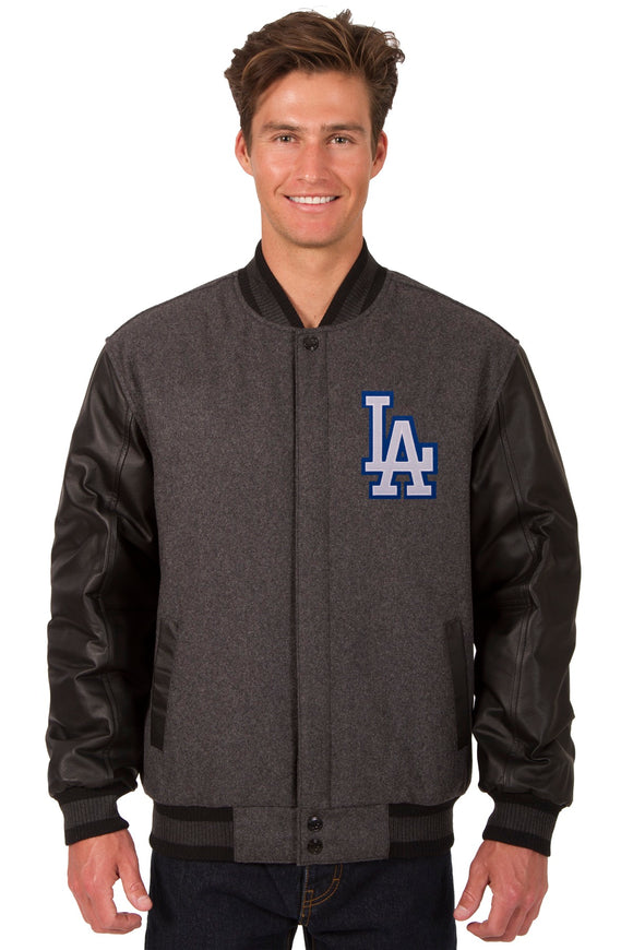 Los Angeles Dodgers Wool & Leather Reversible Jacket w/ Embroidered Logos - Charcoal/Black