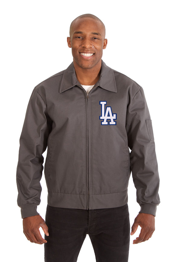 Los Angeles Dodgers Cotton Twill Workwear Jacket - Charcoal - JH Design