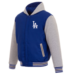 Los Angeles Dodgers Two-Tone Reversible Fleece Hooded Jacket - Royal/Grey - JH Design