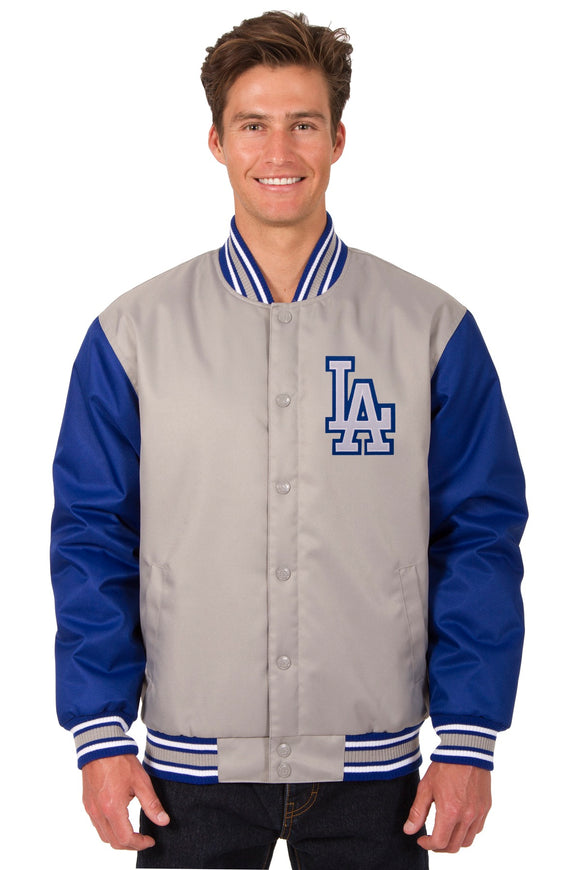 Los Angeles Dodgers Poly Twill Varsity Jacket - Gray/Royal - JH Design