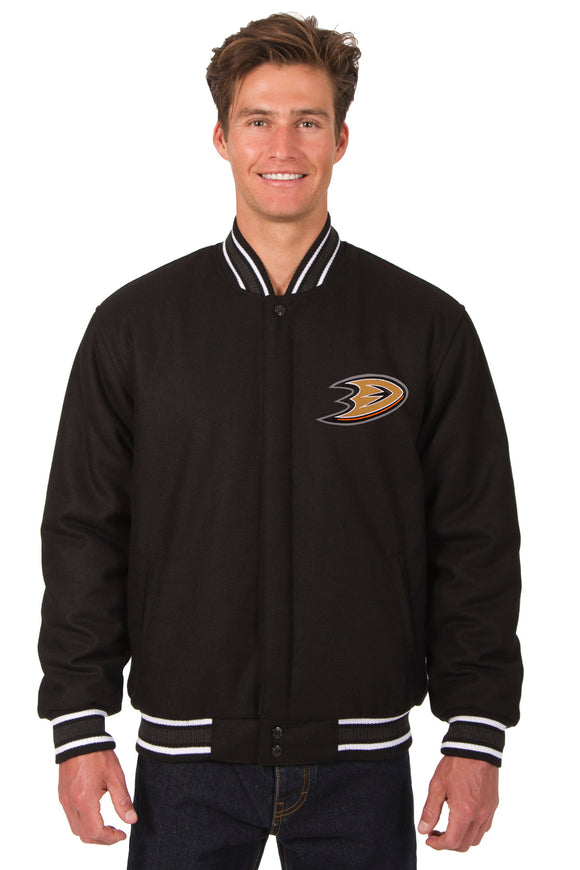 Anaheim Ducks Reversible Wool Jacket - Black - JH Design
