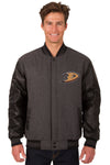Anaheim Ducks Wool & Leather Reversible Jacket w/ Embroidered Logos - Charcoal/Black