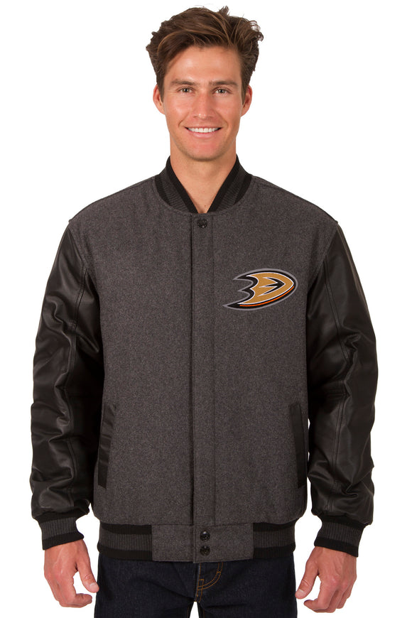 Anaheim Ducks Wool & Leather Reversible Jacket w/ Embroidered Logos - Charcoal/Black - J.H. Sports Jackets