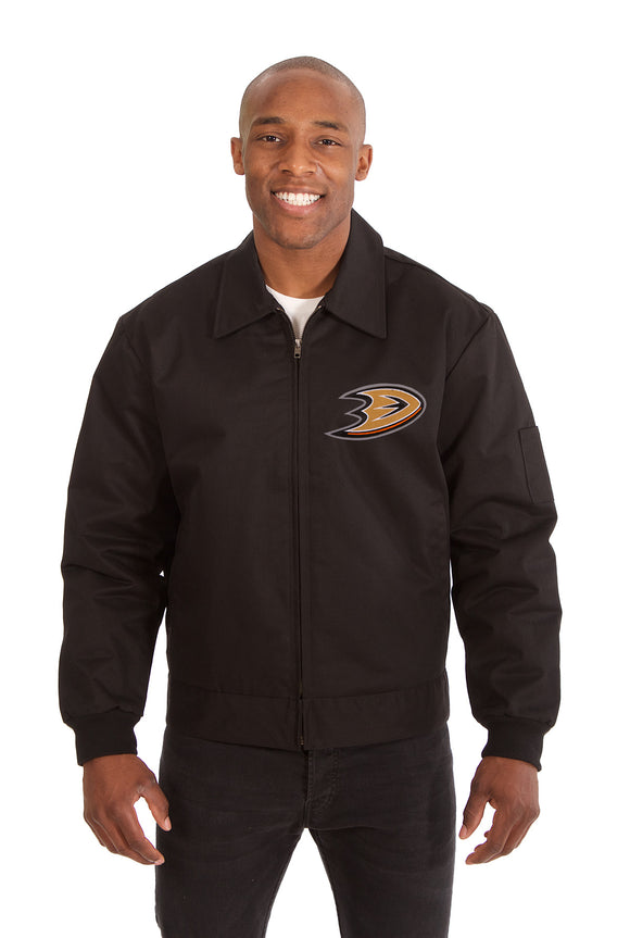 Anaheim Ducks Cotton Twill Workwear Jacket - Black - JH Design