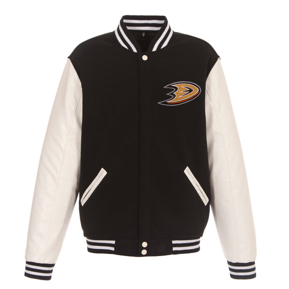 Anaheim Ducks JH Design Reversible Fleece Jacket with Faux Leather Sleeves - Black/White - JH Design