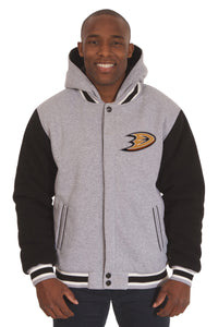 Anaheim Ducks Two-Tone Reversible Fleece Hooded Jacket - Gray/Black