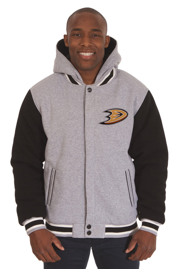 Anaheim Ducks Two-Tone Reversible Fleece Hooded Jacket - Gray/Black - JH Design
