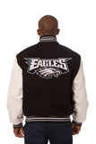 Philadelphia Eagles Two-Tone Wool and Leather Jacket - Black/Cream - JH Design