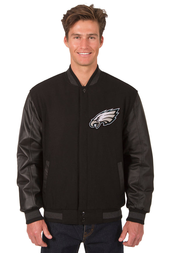 Philadelphia Eagles Wool & Leather Reversible Jacket w/ Embroidered Logos - Black