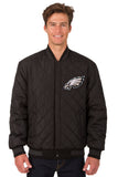 Philadelphia Eagles Wool & Leather Reversible Jacket w/ Embroidered Logos - Black - JH Design