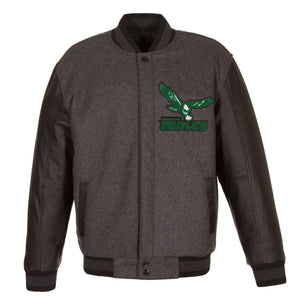 Philadelphia Eagles Wool & Leather Throwback Reversible Jacket - Charcoal