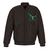 Philadelphia Eagles Wool & Leather Throwback Reversible Jacket - Charcoal - JH Design