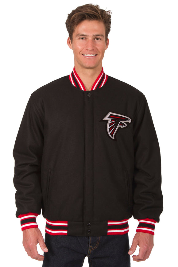 Atlanta Falcons Reversible Wool Jacket - Black/Red - JH Design