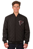 Atlanta Falcons Wool & Leather Reversible Jacket w/ Embroidered Logos - Black