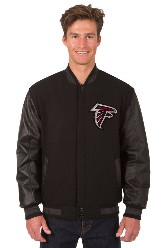 Atlanta Falcons Wool & Leather Reversible Jacket w/ Embroidered Logos - Black - JH Design